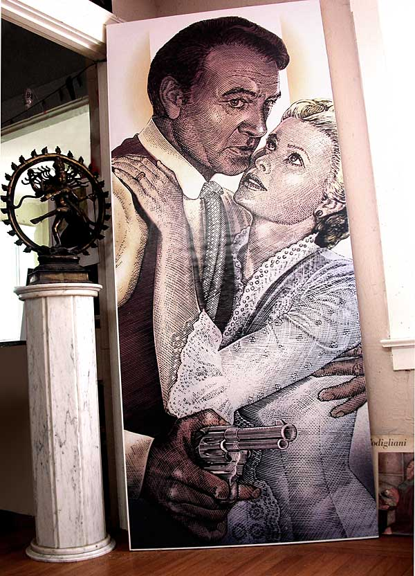 Grace Kelly Gary Cooper High Noon Poster, 交叉線畫 Crosshatch Painting